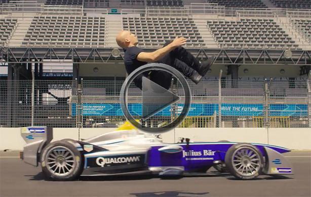 Blind Backflip Over Moving Formula E Racecar