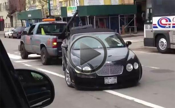 Bentley Escapes Sandy Gets Trashed By Tow Truck