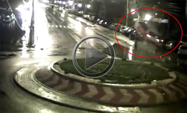 Car Goes Airborne Over Roundabout