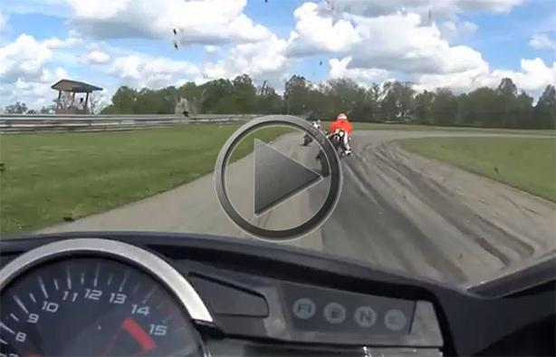 Flying Motorcycle Smashes Biker Helmet