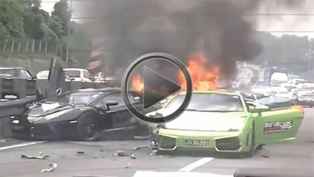 Three Lamborghinis On Fire