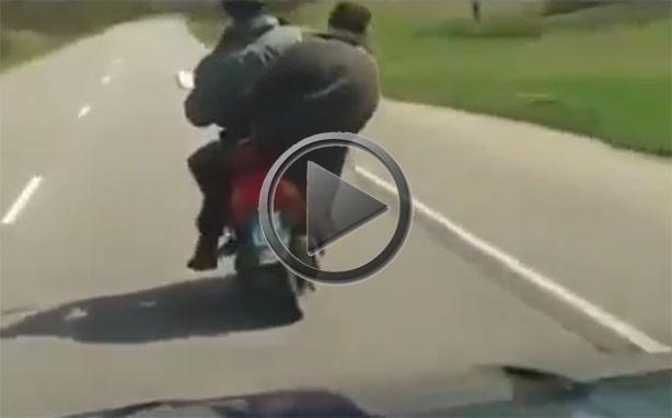 Two Drunk Russians On A Scooter
